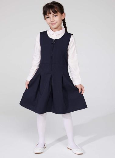 DeFacto Önü Fermuarlı Pileli Elbise Lacivert